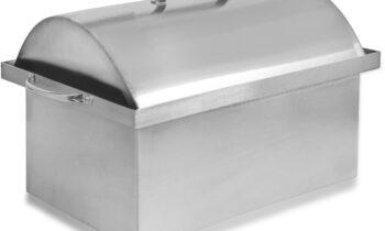 Портативная коптильня горячего копчения Sfera серии Lux для бытового использования из нержавеющей стали с купольной крышкой и гидрозатвором. Оснащена 2-ярусными решетками и поддоном для сбора жира.